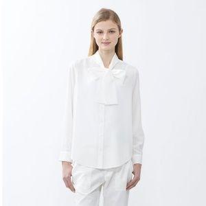 UNIQLO White Bow Button Down Shirt
